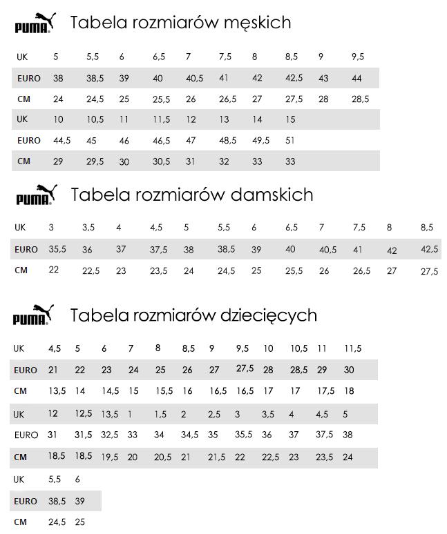 tabela rozmiarów puma